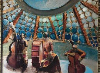 Auguri dal maestro Mario Serra e da Viviana Miele (opera pittorica+musica)